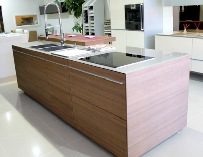 ex display walnut kitchen island glass worktops and miele stunning large leicht ex display kitchen island