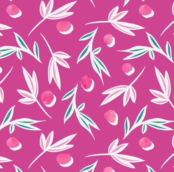 Pink Leaf Fabric Pink Polka Dot Scattered Leaves By