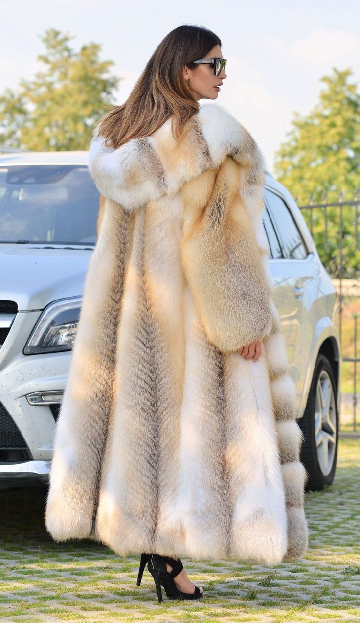 2016 Golden Island Fox Long Fur Coat Hood Clas Chinchilla Sable Mink Lynx Silver…