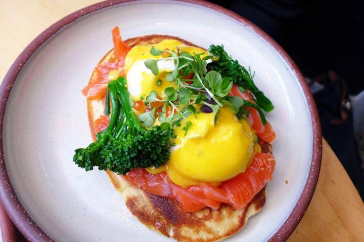 EGGS BLINI  at Devon Cafe. Buckwheat blini, cured king salmon, salmon caviar, broccolini, sauce Mikado and poached eggs