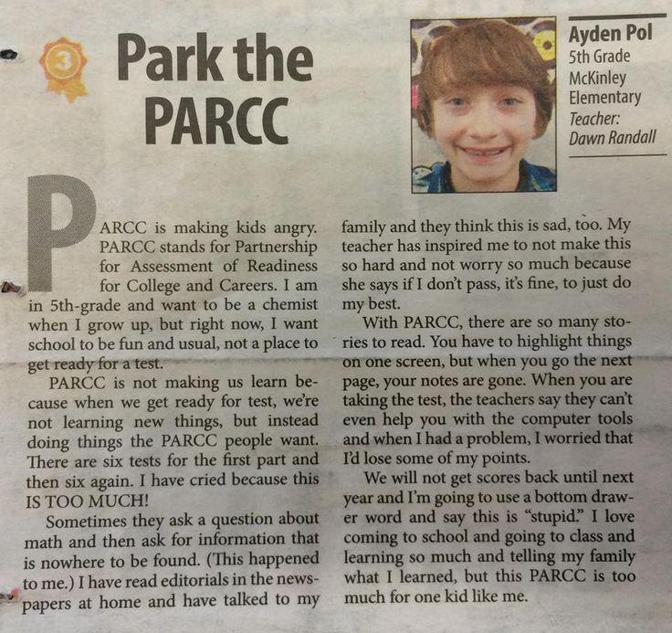 Park the PARCC: Elyria 5th grader's editorial on Pearson testing - 27Apr2015