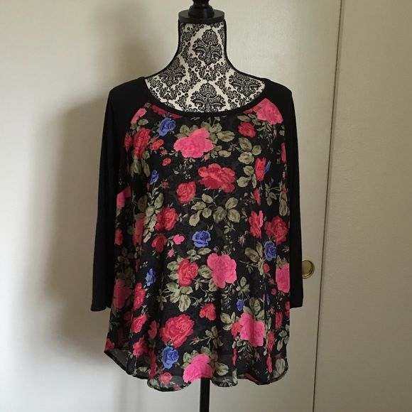 NWOT Torrid Floral Baseball Top Baseball top with knit sleeves and chiffon body. torrid Tops Blouses