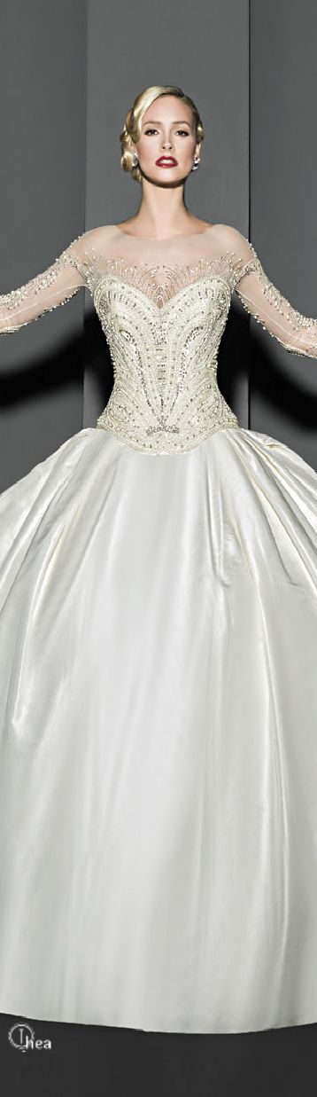 Victor Harper ~ Couture White  Satin Beaded Ball Gown