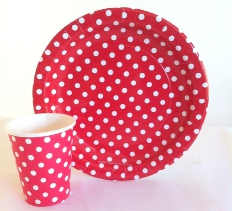 Red polka dot Plates and cups http://thecompletekidsparty.com.au/party-tablesetting/plates-and-cups/#ty;pagination_contents;/party-tablesetting/plates-and-cups/page-4/