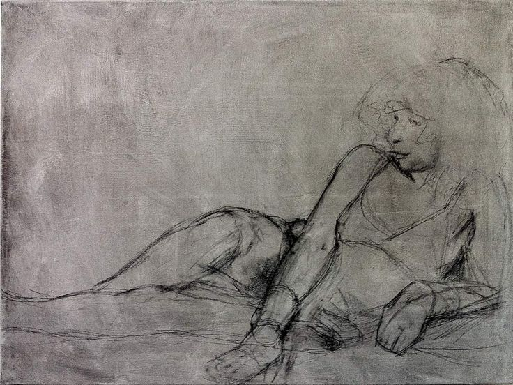 #Aphrodite - #modernart #charcoal on primed #canvas 80 x 60 cm by #berlin based #artist cornelia es said