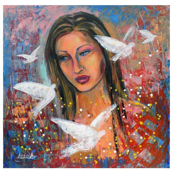 Figure portrait woman white doves original large by artstudioAreti