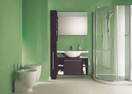Este es nuestro bano  hay un lavabo paqueno y blanco izquierda hay un wáter y a la derecha hay una ducha blanca y bastante grande. Las paredes son verdes.
