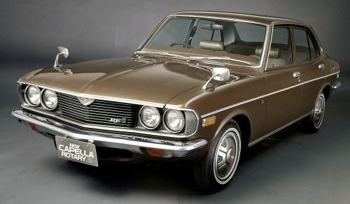 http://chicerman.com  carsthatnevermadeit:  Mazda Capella Rotary AP Sedan 1800 AP Sedan and Rotary AP Coupe 1974. The Capella was extensively facelifted in 1974 and received a 1.8 litre piston engine and 12B rotary. In Japan it was sold with the AP suffix for Anti-Pollution. Mazda refer to this model as the second generation Capella though it was just a restyled version of the first. It was the last Capella to be available with a Rotary engine  #cars
