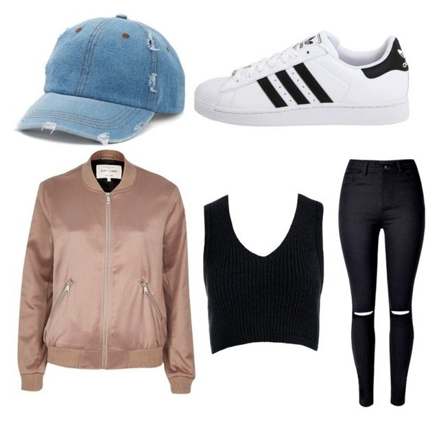 """Teens swag outfit"" by addisontravis on Polyvore featuring River Island, adidas Originals, WithChic, Sans Souci and Mudd"
