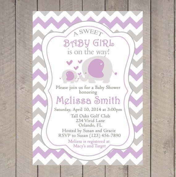 elephants baby shower invitation printable girl baby shower purple and grey baby shower chevron mom and baby elephant printable 041