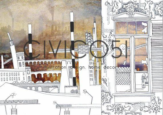 Maurilia illustrazione città di CIVICO51 su Etsy