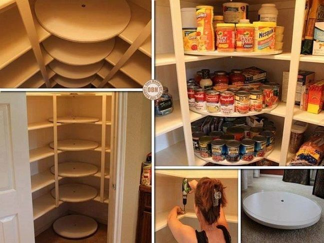Just discovered this super smart idea for taming a chaotic pantry over at diycozyhome.com. These stacked Lazy Susan carousels make great use of those back corners where food gets lost. You'll find the original tutorial at decorchick.com | thisoldhouse.com