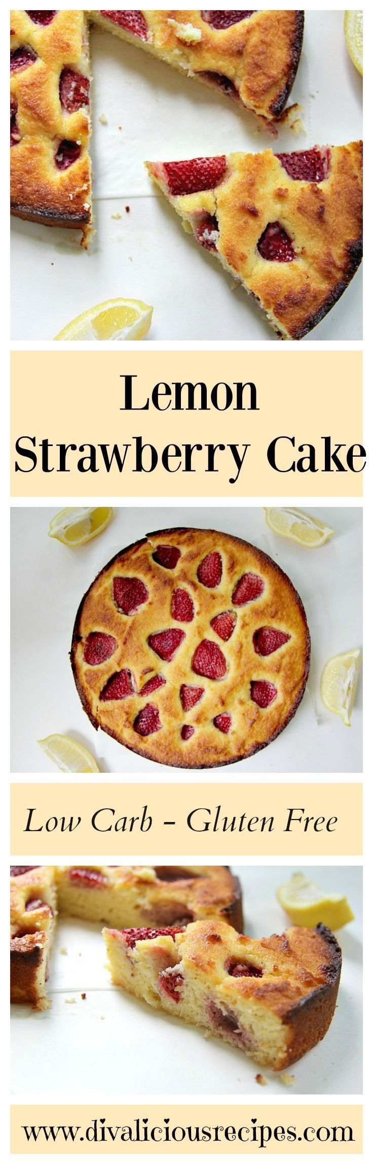 A lemon strawberry cake recipe that is light, moist and delicious. Baked with coconut flour this lemon strawberry cake is low carb and gluten free.  Recipe - http://divaliciousrecipes.com/2017/04/24/lemon-strawberry-cake-low-carb/