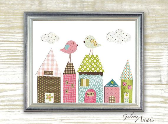 Nursery art prints - baby nursery decor - nursery wall art - kids art - kids bird - kids room decor - house -  Up On The Roof print