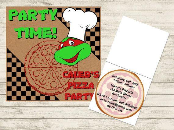 Teenage Mutant Ninja Turtle Party Pizza Box, Pizza Party Invitation (Customizable DIY PDF Printable)