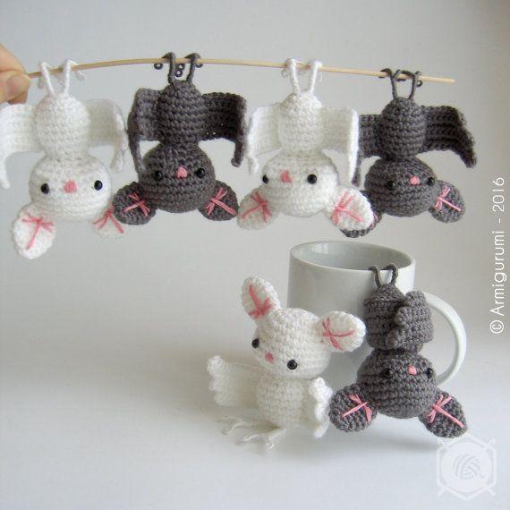 Little grey Bat, decorative hanging amigurumi, crocheted. Grey, white or black…