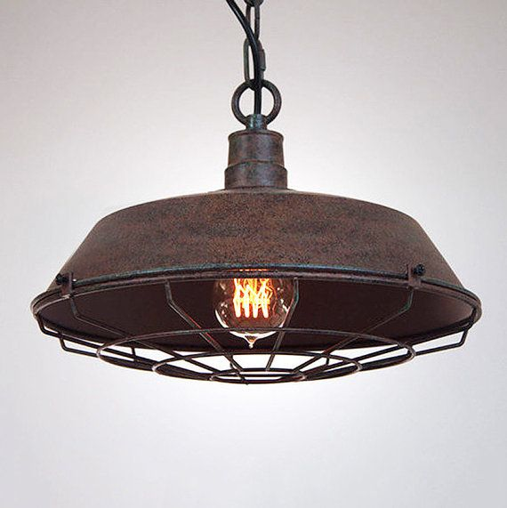 Industrial Rustic Pendant Lighting : Rustic industrial pendant light with cage by
