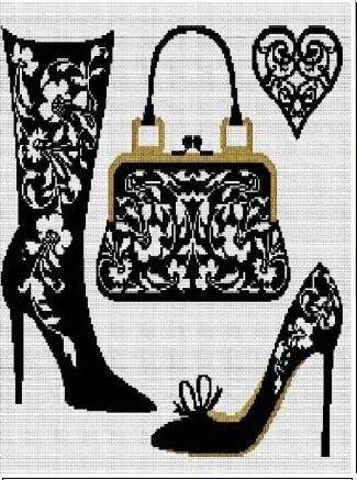 point de croix monochrome femme, botte, chaussure et sac- cross-stitch woman boots, shoes and bag