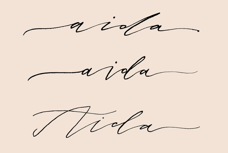 Calligraphy tattoo design of Jo's mother's name, Aida.