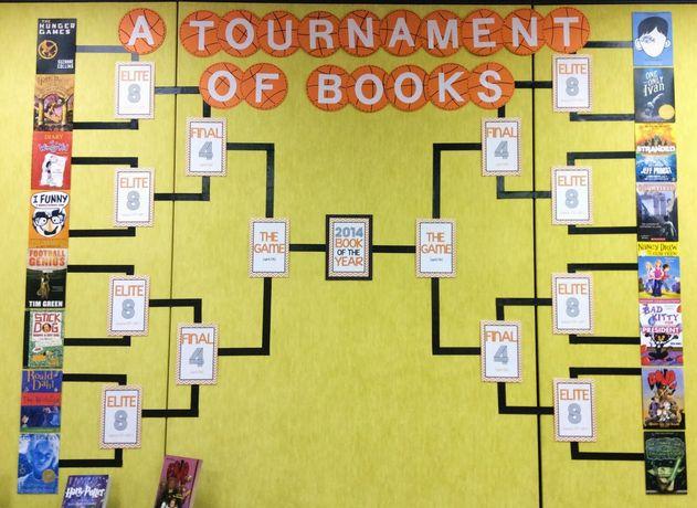 Juf-Stuff: lezenWat heeft Catherine Reed gedaan? In de loop van het schooljaar heeft zij bijgehouden welke boeken er door de leerlingen werden gelezen. De 16 meest gelezen boeken staan op het bord. Het is de bedoeling dat uiteindelijk een boek van het jaar gekozen wordt. In verschillende rondes kunnen de leerlingen stemmen op hun favorieten. Er strijden steeds twee boeken tegen elkaar.
