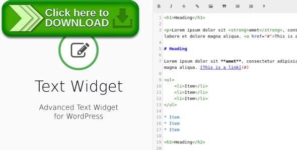 [ThemeForest]Free nulled download Text Widget — Advanced Text Widget for WordPress from http://zippyfile.download/f.php?id=55419 Tags: ecommerce, content, fullscreen mode, html editor, Markdown editor, Real-time preview, sidebar, syntax highlighting, text, text widget, widget, wordpress, wysiwyg