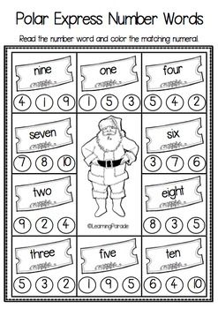 The Polar Express Kindergarten Math Printables from Learning Parade: Lots of no-prep maths activities for December's Christmas unit.