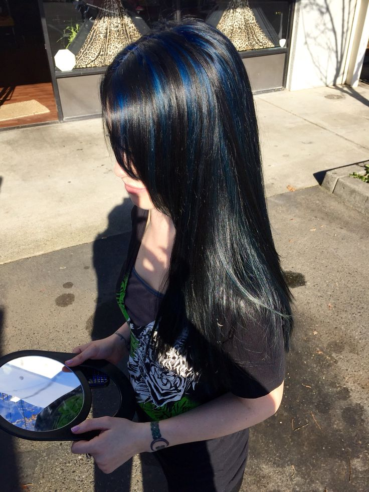 All Over Black With Sapphire Blue Highlights Maaahhhh