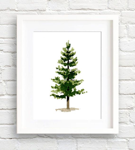 Watercolor Pine Tree Art Print Wall Decor by EveryDayShenanigans