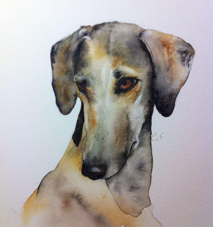 Caravan hound dog watercolour commission piece painting by artist jane davies