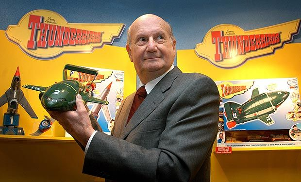 Gerry Anderson with his Thunderbirds creations...toys based on his concepts were always at the top of our Christmas wish lists!