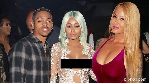Blac Chyna Has   Major Nip Slip In Lace Jumpsuit While Partying With Amber Rose