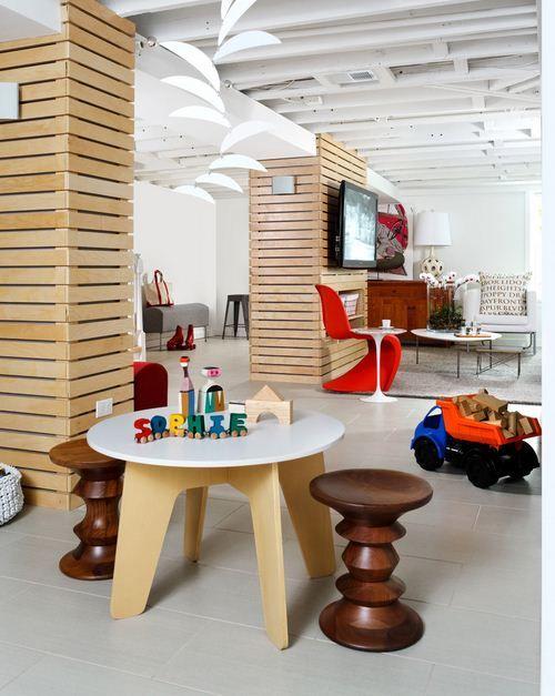 Paint the ceiling! organized basement ideas   basement Kid playroom How to Set Basement into Kids Playroom