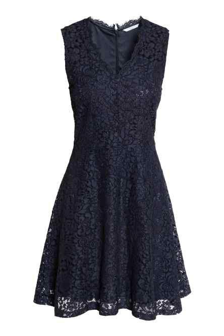 Kanten jurk met V-hals