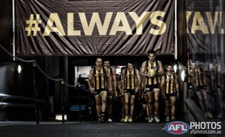 Home » Galleries » AFL 2013 Finals Week 1 - Best of Finals AFL 2013 Finals Week 1 Best of Finals Fri, 6th Sep 2013 Image ID: 303048 Hawthorn players enter the field during the 2013 AFL 1st Qualifying Final match between the Hawthorn Hawks and the Sydney Swans at the MCG, Melbourne on September 06, 2013. (Photo: Michael Willson/AFL Media) (Editor's Note: A digital filter has been applied to this image)