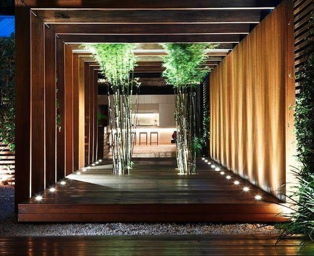 Outdoor entrance + bamboo + dark timber
