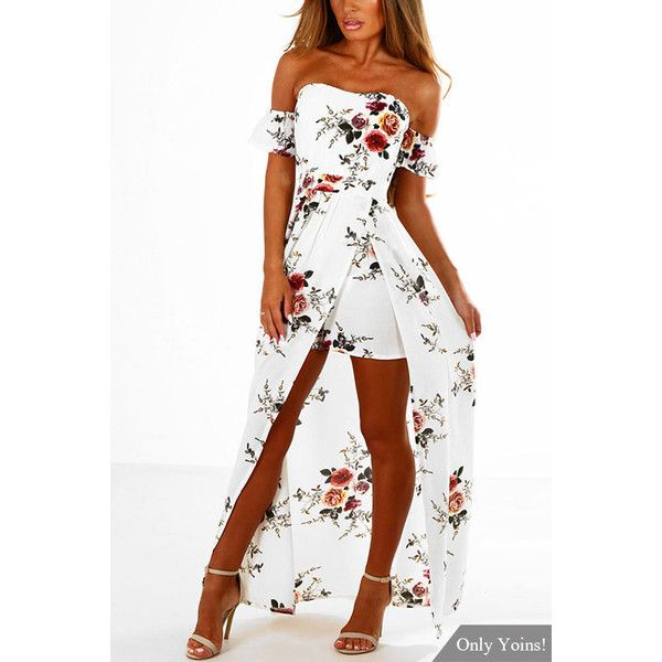 Yoins White Off Shoulder Random Floral Print Splited Dress (€25) ❤ liked on Polyvore featuring dresses, white, floral print dress, night out dresses, off the shoulder floral dress, off shoulder floral dress and white party dresses