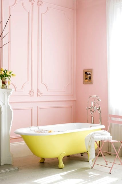 beautiful pink walls + yellow bath tub.....make the walls a subtle blue and it's perfect