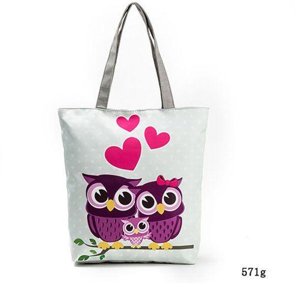 Women/'s Canvas Tote Shoulder Handbag Owl Travel Shopping Satchel Folding Bags