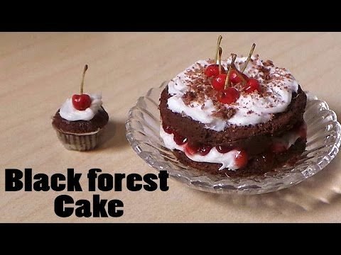 Cherry Chocolate / Schwarzwald / Black Forest Miniature Cake - Polymer Clay Tutorial - YouTube