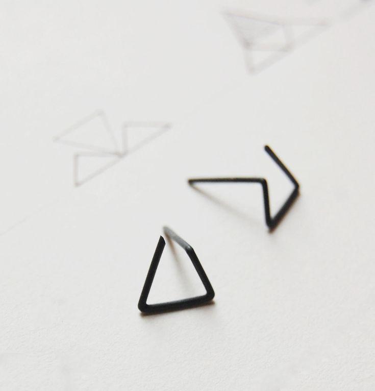 Oxidized silver geometrics stud earrings Les géométriques Nro 6 by AgJc