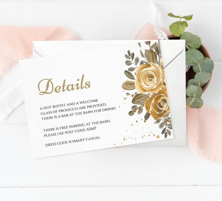 Printable gold floral chartreuse wedding details card