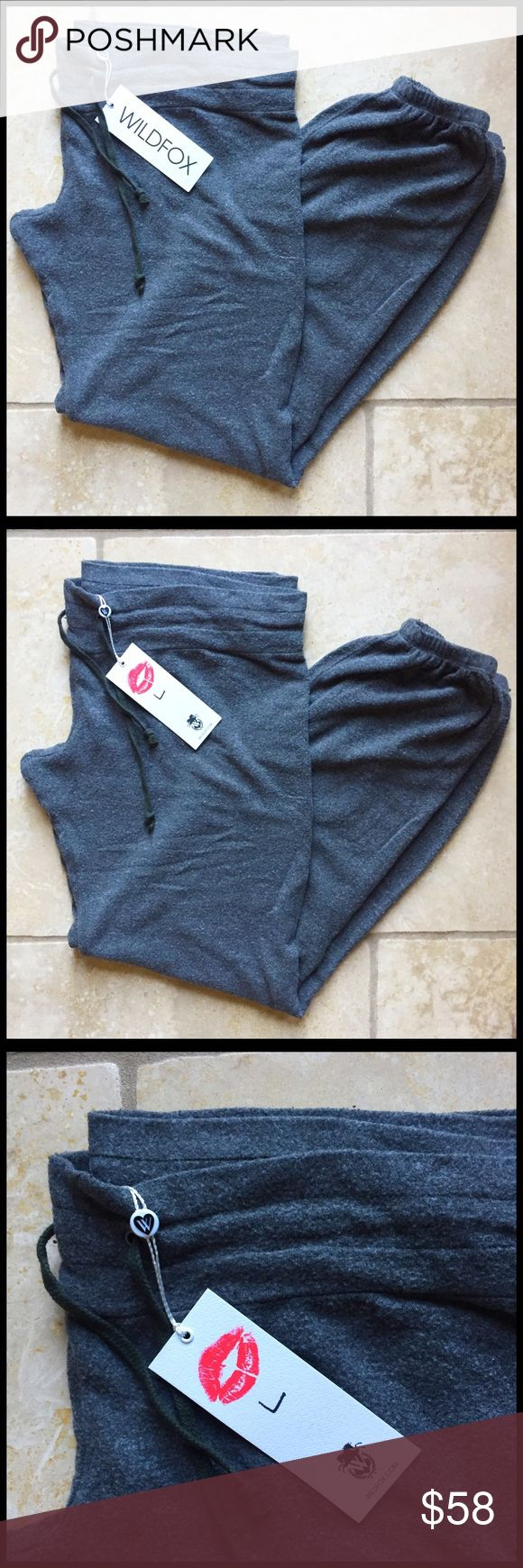 Wildfox Sweatpants / Size Large / Heathered Moss Classic, coziest sweats you'll ever own from Wildfox. Heathered moss, almost charcoal grey. Drawstring at waist. Size L. Brand new with original tags. Wildfox Pants Track Pants & Joggers