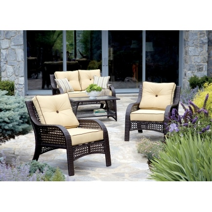 Chicago Wicker Napa 4 Piece Wicker Chat Set Patio Collections Seating Sets Ace Hardware