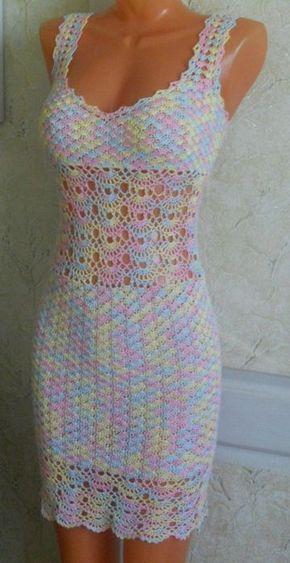 Les motifs robe fil de travail de crochet coloré gratuits - modèles gratuits