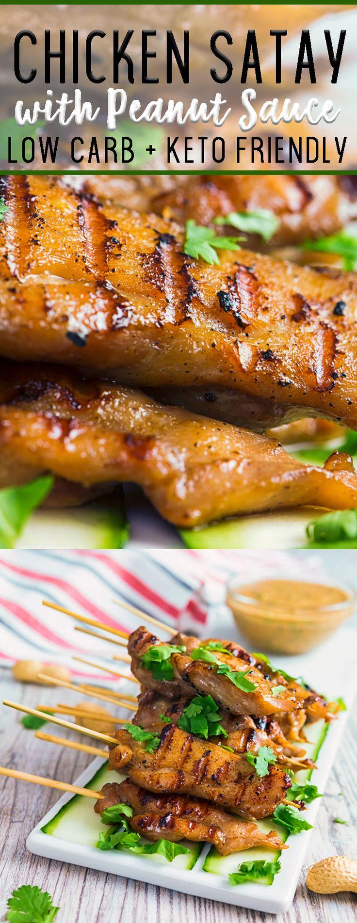 Keto Chicken Satay with Peanut Dipping Sauce