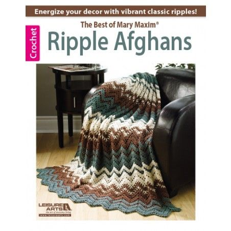 Energize your dÈcor with vibrant classic ripples from Mary Maxim. Youíll become a master of ripple afghans with this collection of 10 beginner to intermediate patterns to crochet.  10 Designs to make using medium or sport weight yarns: To the Point Throw, Optic Waves Throw, Autumn Waves Throw, Rippled Lace Throw, Bands of Lace Ripple, Ocean Breeze Afghan, Rise and Fall Throw, Home for the Weekend Throw, Lace Delight Throw, and Rippled Afghan.