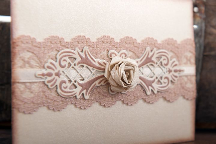 Another vintage inspired petal fold invitation with lace, satin ribbon, lattice flourish and 3D rose detail.
