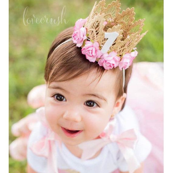 First Birthday|| Sienna crown gold || pink flowers lace crown headband|| photography prop || customize ANY AGE|| keepsake box included