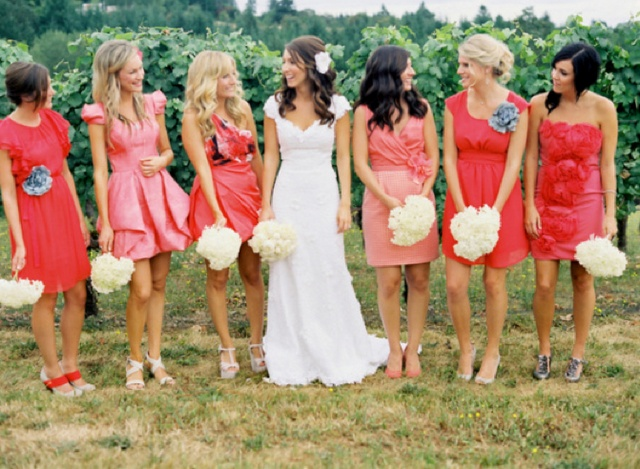 Mismatched bridesmaids ... fun and could work well if your gang includes different shapes and sizes