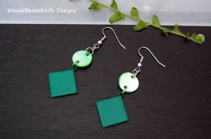 Geometric Earrings, Minimalist Earrings, Green Earrings, Shell, Enameled Steel, Hypoallergenic Stainless Steel Hooks, St Patrick Day Gift